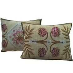Pair of Antique French Aubusson Pillows, circa 1850