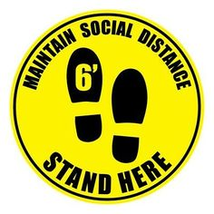 """(eBay Ad Link) 10"""" Social Distancing Sticker Stand Here 6ft for Virus Safety Prevention 10 Pack"""