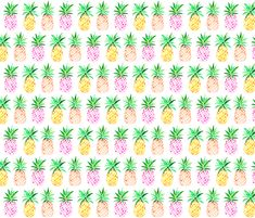 Mixed Watercolor Pineapples fabric by emmaallardsmith on Spoonflower - custom fabric