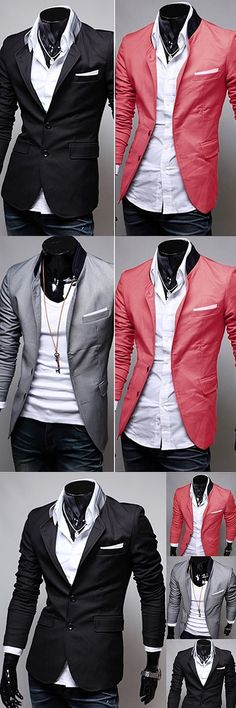 2016 New Men's Fashion Spring Autumn Warm Soft Casual Stand-up Collar Business Suit Coat