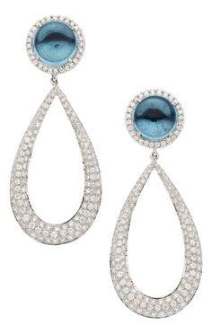 Topaz, Diamond, White Gold Earrings, Eli Frei