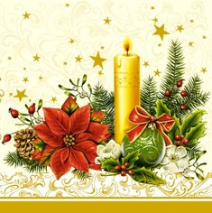20 napkins - 33 x 33 cm ,  Flowers - Christian-roses,  Christmas - candles,  Christmas - Christmas-star,  Christmas,  lunchnapkins