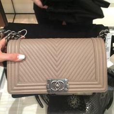 9b3ee5dd570 Chanel Beige Micro Chevron Boy Bag - Pre Fall 2014 Chanel Le Boy