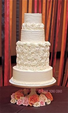 Rosette Buttercream Wedding Cake By lorieleann on CakeCentral.com