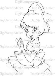 Little Black Girl 2. INSTANT DOWNLOAD Digital Digi Stamps
