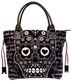 PURPLE SUGAR SKULL SHOULDER BAG purse by Banned Apparel. - #infectiousthreads #goth #gothic #horrorpunk #punk #alt #alternative #psychobilly #punkrock #black #fashion #clothes #clothing #darkfashion #streetfashion #purses #handbags #sugarskull #dayofthedead #dotd