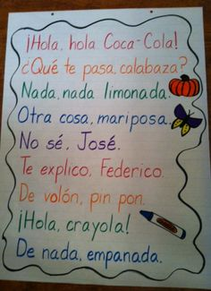 I Teach Dual Language: De nada, empanada: Spanish Rhyming Phrases - - I Teach Dual Language: De nada, empanada: Spanish Rhyming Phrases & Español Ich unterrichte duale Sprache: De nada, empanada: Spanisch Reimphrasen Preschool Spanish, Elementary Spanish, Spanish Activities, Listening Activities, Spelling Activities, Preschool Worksheets, Preschool Crafts, Dual Language Classroom, Bilingual Classroom