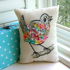 Bird pillow stuffed bird fabric scrap pillow by tracyBdesigns *cute for my owl*
