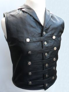 Details about Mens Leather Steel Boned STEAMPUNK Waistcoat Vest Corset GOTH…