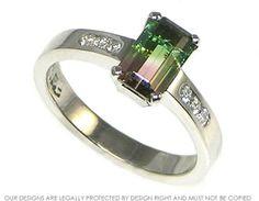Platinum watermelon tourmaline engagement ring with side diamonds. ~ Harriet Kelsall Jewellery Design