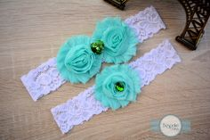 Baby Blue Wedding Garter Set with White Lace & Green Rhinestone - by BespokeGarters by BespokeGarters on Etsy
