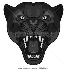 Panther Portrait. Angry Black wild cat head cartoon style. Aggressive ...