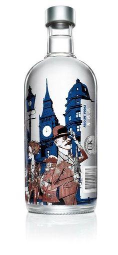 limited edition Absolut London bottle design; artist Jamie Hewlett