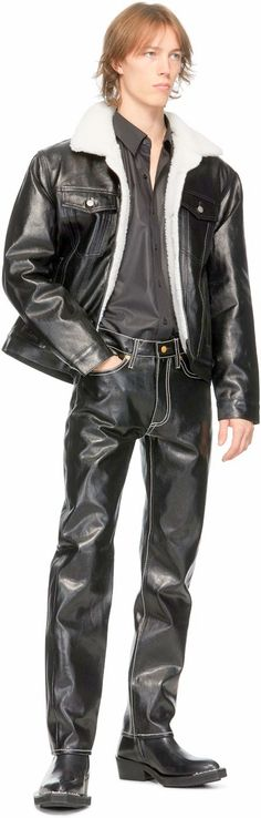 Hot Men, Hot Guys, Vintage Men, Leather Pants, Fur, Boys, How To Wear, Jackets, Fashion