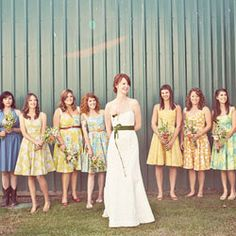 Handmade Washington farm wedding. Lovely handpicked bridesmaid dresses in floral prints!