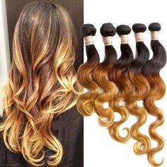 DE Lokal 50g/pc Körperwelle 16  Echthaar Haarverlängerung 1b/33/27# Ombre Haar