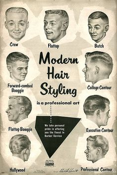 about 1957 Barbershop Modern 9 Haircut Photo Chart Sign Ads Vintage Barber poster- showing the clean-cut styles of the Modern may refer to: 1950s Mens Hairstyles, Mid Hairstyles, Vintage Hairstyles, Japanese Hairstyles, Wedding Hairstyles, Classic Hairstyles, Undercut Hairstyles, Wedding Updo, Wedding Makeup