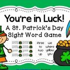"Get out a festive green bowl or black pot and add these sight word and ""You're in luck"" cards for a fun game to practice Dolch words. This is great game to play at a center or for RTI during the month of March or on St. Patrick's Day!"