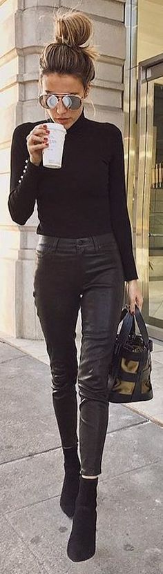 #fall #outfits black shirt leather pants