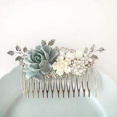 Dusky Blue Wedding Comb, Sterling Gray Mercury Blue Silver Bridal Hair Comb, Rhinestones Crystal Hair Slide, Romantic Pearl Hair Clip by DelovelyBride on Etsy https://www.etsy.com/listing/491398128/dusky-blue-wedding-comb-sterling-gray