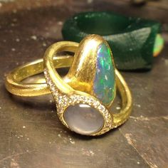 """Rings by """"Tenthousandthings"""" Gold Rings, Gemstone Rings, Ring Earrings, Cocktail Rings, Antique Jewelry, Bling, Jewels, Sparkles, Designers"""