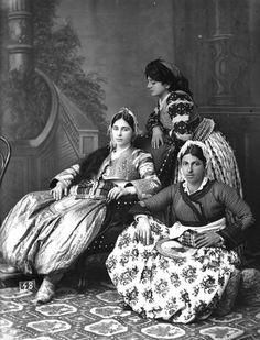 Three young women from Shkodër (northern Albania), in their festive costumes.  Ca. 1900.   (Studio Marubi, Shkodra).