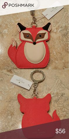 NWT kate spade blaze a trail fox keychain key fob New with tags kate spade blaze a trail fox keychain. Sold out online. Leather with suade accents and goldtone hardware.   Guaranteed authentic  Smoke free home  Pet free home   No dustbag or box  No trades  Price firm  No offers, please kate spade Accessories