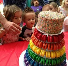 Just makes you want to eat the whole thing. Cake made with macaroons Childrens Party, Macaroons, How To Make Cake, Cupcake Cakes, Cupcakes, Birthday Parties, Rainbow, Make It Yourself, Eat