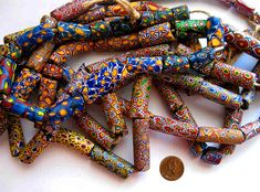 Antique Venetian Millefiori beads used in the African trade circa late 1800's, early 1900's