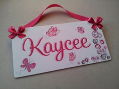 Butterflies themed personalized girls door sign baby by kasefazem, $16.99