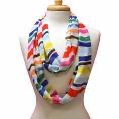 Yellow Blue Orange Fuchsia Striped Circle Ring Infinity Scarf - List price: $20.00 Price: $14.99