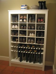Boot and Shoe Storage - this is a great design and would be perfect in a mudroom. organized soccer mom soccer mom organization #organize #soccermom #soccer