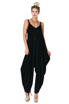 5abad80fd5e Women s Solid Color Oversize Loose Fit Harem Jumpsuit with Strap