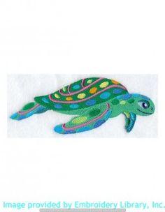 Stickmotiv Stickbild Aufnäher Stickerei Emblem Schildkröte  Schildkröte /  Stickerei Caribbean Sea Turtle (A8463)