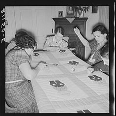 Farm women working on quilt. Near West Carlton, Yamhill County, Oregon.