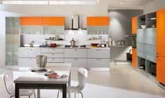 Italian Orange Color Kitchen Cabinet Design Id501 - Modern Italian Style Kitchen Designs - Kitchen Designs - Interior Design