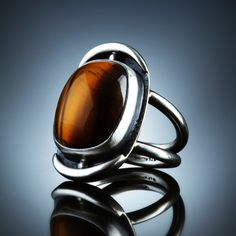 Tiger Eye Ring. Fabricated Sterling Silver. www.amybuettner.com