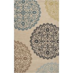 Hand-tufted Beige Wool Transitional Proton Rug (5'x7') | Overstock.com Shopping - The Best Deals on 5x8 - 6x9 Rugs