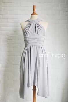 Bridesmaid Dress Infinity Dress Gray/Silver Knee Length Wrap Convertible Dress Wedding Dress