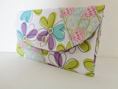 Handmade woman cotton wallet and wristlet in by stitchinghook