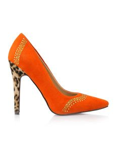 High Heels Trendy Orange PU Leather Rhinestone Women's Dress Pumps
