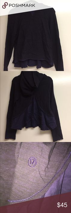 Cropped LuluLemon Hoodie with Fun Back **NEVER BEEN WORN** tag fell off. Hoodie w super soft, stretch fabric and amazing surprise paneled back. Full length sleeves and cropped length on jacket (fits 2/4). Needs ironing in pic, easy fix!! This is a great yoga find 🙏🏼 open to offers! lululemon athletica Sweaters