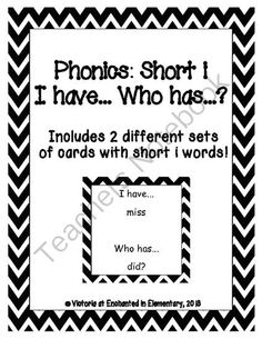 Phonics: Short i I Have, Who Has? from Enchanted in Elementary on TeachersNotebook.com (10 pages)  - Enchanted in Elementary: Phonics: Short i I Have, Who Has?