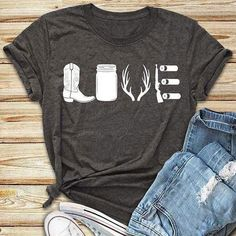 Summer Women Fashion T-Shirt boot antlers Love Pattern O-Neck Short Sleeve T-Shirt Casual Female Loose t shirt Ladies Tops Tee Country Girl Shirts, Country Outfits, Shirts For Girls, Country Girl Style, Country Casual, Country Music Shirts, Western Outfits, Country Clothing Women, Country Girl Clothes