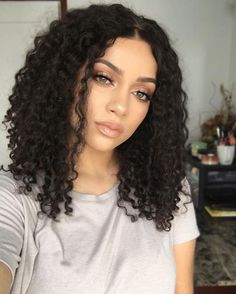 Ericdress Center Part Kinky Curly Medium Synthetic Hair Bob For Round Face Lace Front Cap African American Wigs 14 Inches, Front Hair Styles, Curly Hair Styles, Natural Hair Styles, Hair Front, Shoulder Length Curly Hair, Remy Hair, Bob Hairstyles, Medium Hairstyles, Black Hairstyles