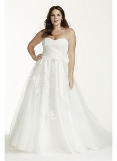 Strapless Tulle Plus Size Wedding Dress with Beads 9MK3666