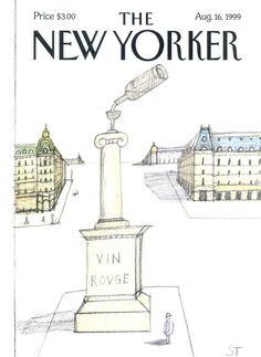 """The New Yorker - Monday, August 1999 - Issue # 3855 - Vol. 75 - N° 23 - Cover """"Vin Rouge"""" by Saul Steinberg The New Yorker, New Yorker Covers, Saul Steinberg, Smart Set, Animal Faces, Big Flowers, Illustrations, Mixed Media Artists, Texture Art"""