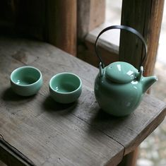 Handmade in Longquan - Celadon Chinese Tea Set / 1 Teapot + 2 Teacups - The Dawn Chinese Tea Set, Chinese Crafts, Tea Canisters, Chinese Design, Tea Caddy, Teapot, Dinnerware, Tea Cups, Pottery