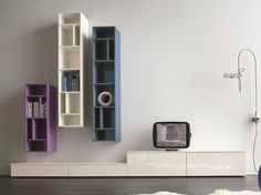 Sectional TV wall system SLIM 4 by Dall'Agnese design Imago Design, Massimo Rosa