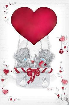 Tatty Teddy Bears And Big ared Heart Balloon....